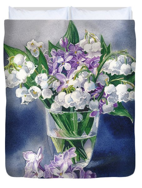 Still Life With Lilacs And Lilies Of The Valley Duvet Cover