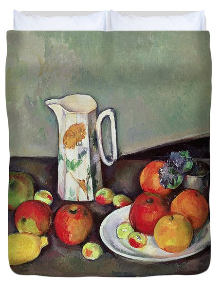 Still Life With Milkjug And Fruit Duvet Cover by Paul Cezanne
