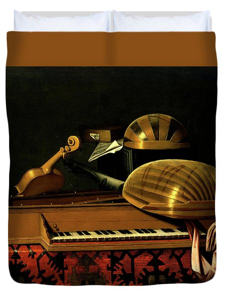 Still Life With Musical Instruments And Books Duvet Cover