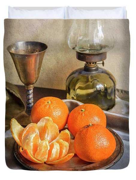 Duvet Cover featuring the photograph Still Life With Oil Lamp And Fresh Tangerines by Jaroslaw Blaminsky
