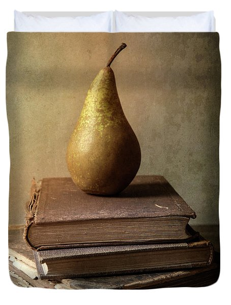 Still Life With Old Books And Fresh Pear Duvet Cover