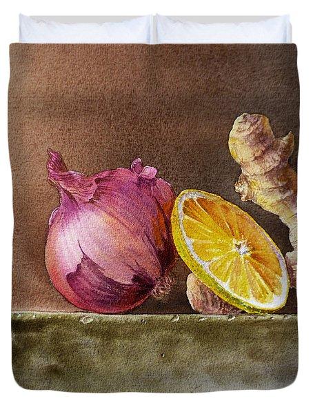 Still Life With Onion Lemon And Ginger Duvet Cover