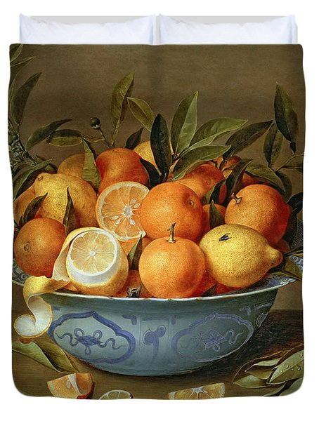 Still Life With Oranges And Lemons In A Wan-li Porcelain Dish  Duvet Cover