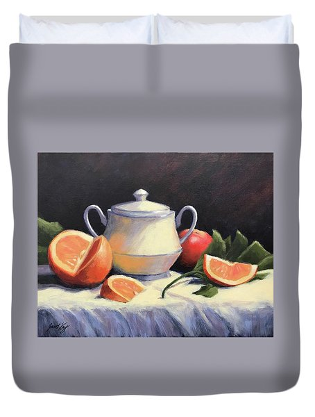 Still Life With Oranges Duvet Cover