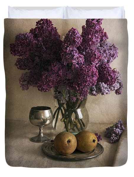 Duvet Cover featuring the photograph Still Life With Pears And Fresh Lilac by Jaroslaw Blaminsky