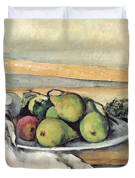 Still Life With Pears Duvet Cover by Paul Cezanne