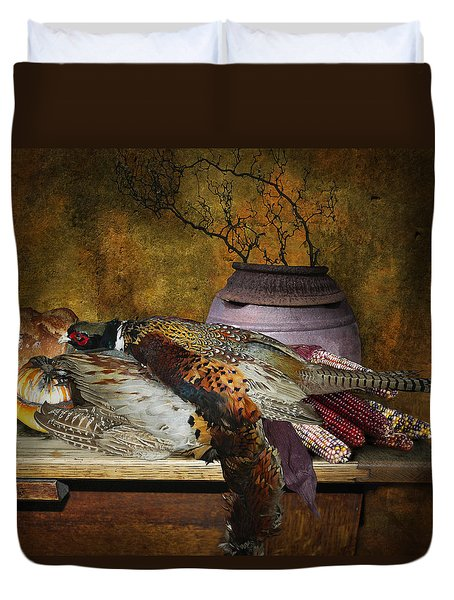 Still Life With Pheasants And Corn Duvet Cover by Jeff Burgess