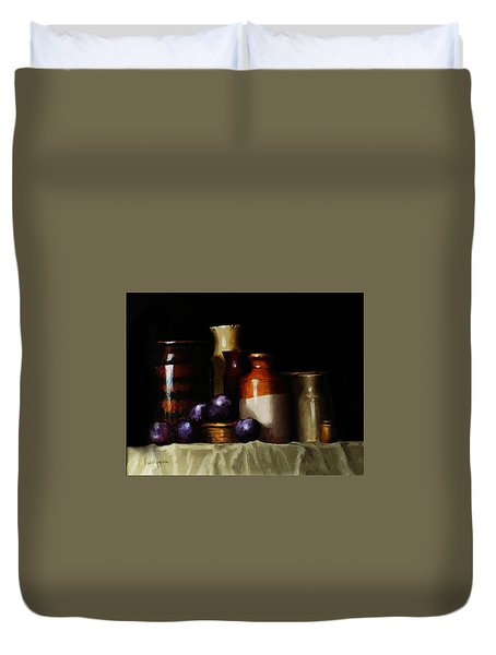 Still Life With Plums Duvet Cover by Barry Williamson