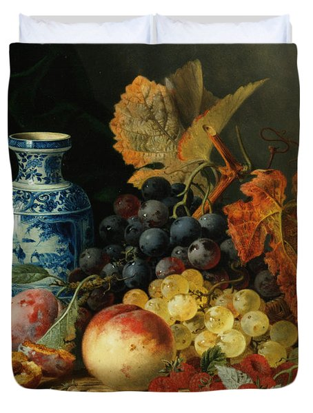 Still Life With Rasberries Duvet Cover by Edward Ladell