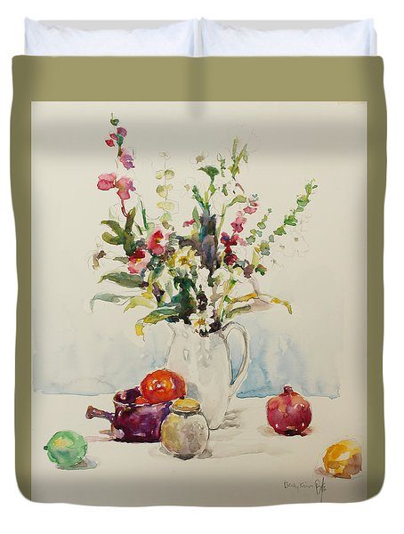Still Life With Pomegranate Duvet Cover by Becky Kim