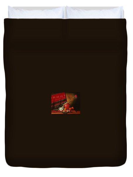 Still Life With Red Vase. Duvet Cover