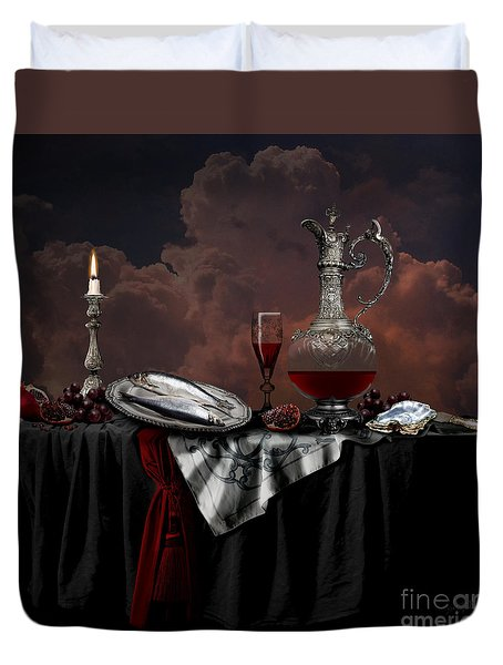 Duvet Cover featuring the digital art Still Life With Red Wine by Alexa Szlavics