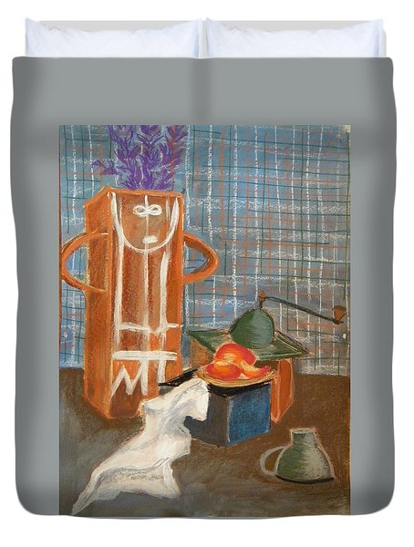 Still Life With Romanian Ceramic Duvet Cover by Manuela Constantin
