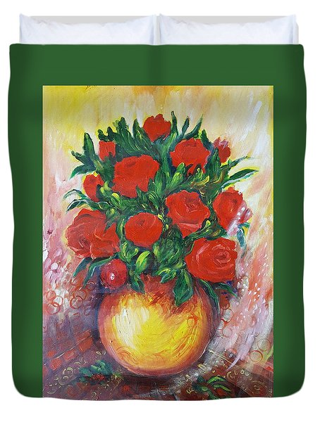Still Life With Roses Duvet Cover by Rita Fetisov