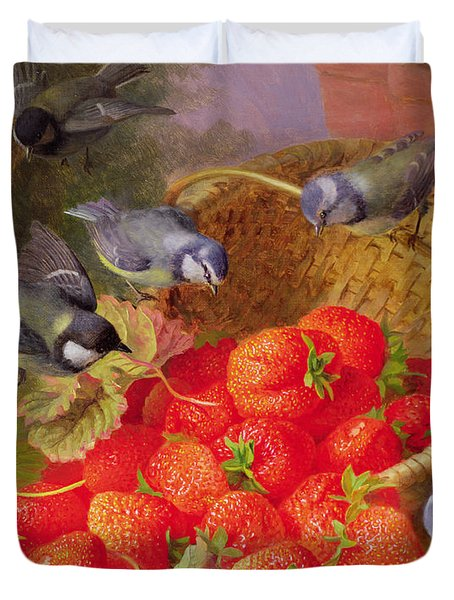 Still Life With Strawberries And Bluetits Duvet Cover