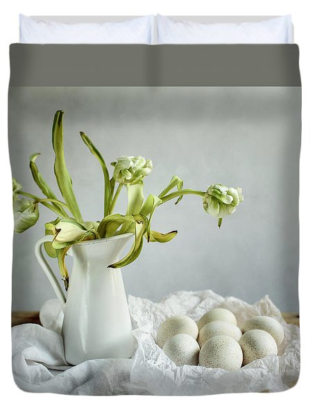 Still Life With Tulips And Eggs Duvet Cover