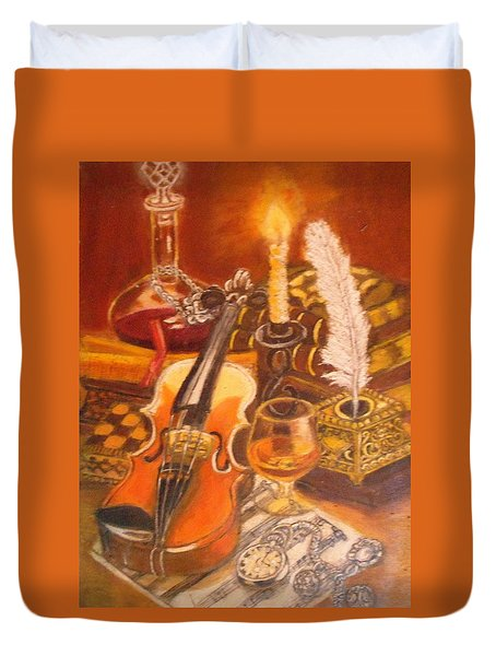 Still Life With Violin And Candle Duvet Cover