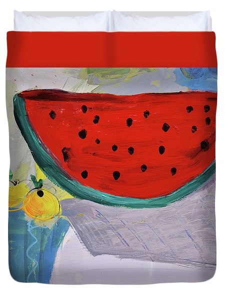 Still Life With Watermelon And Two Lemons Duvet Cover by Amara Dacer