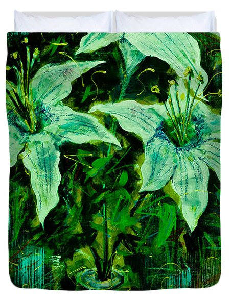 Still Life With White Lilies In Green Duvet Cover