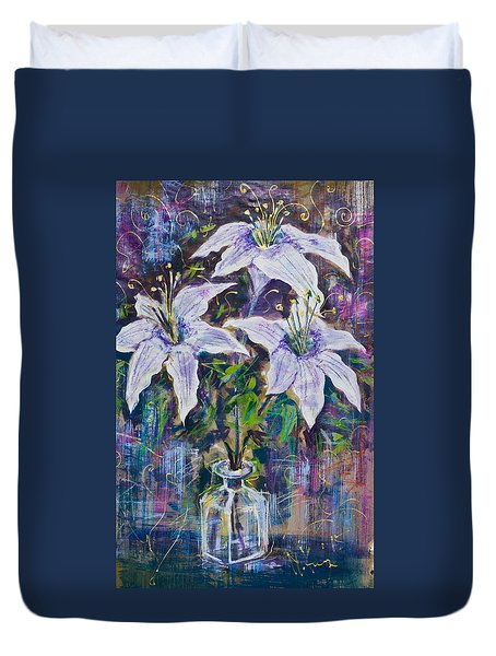 Still Life With White Lilies Duvet Cover