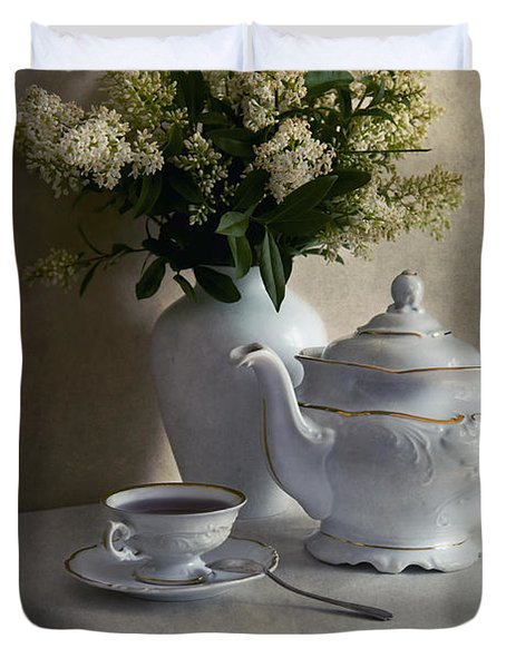 Still Life With White Tea Set And Bouquet Of White Flowers Duvet Cover