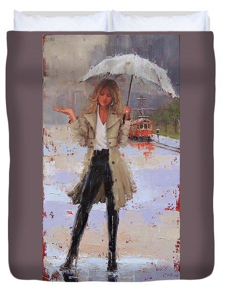 Still Raining Duvet Cover by Laura Lee Zanghetti