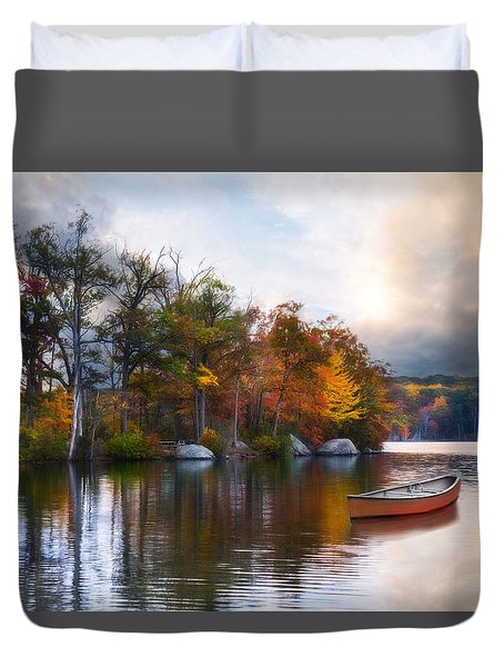 Duvet Cover featuring the photograph Still Water Lake by Robin-Lee Vieira