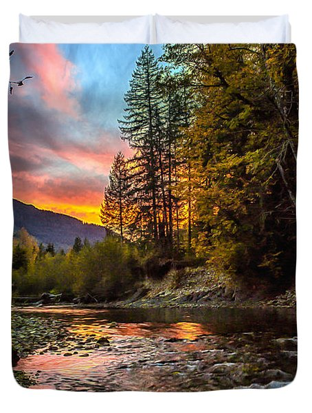 Stillaguamish Sunset Duvet Cover