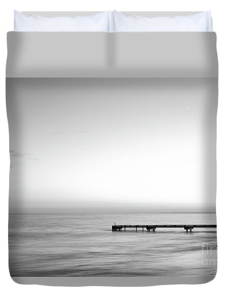 Duvet Cover featuring the photograph Stillness In Black And White by Ivy Ho