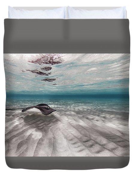 Stingray Across The Sand Duvet Cover