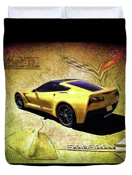 Duvet Cover featuring the drawing Stingray by Michael Cleere