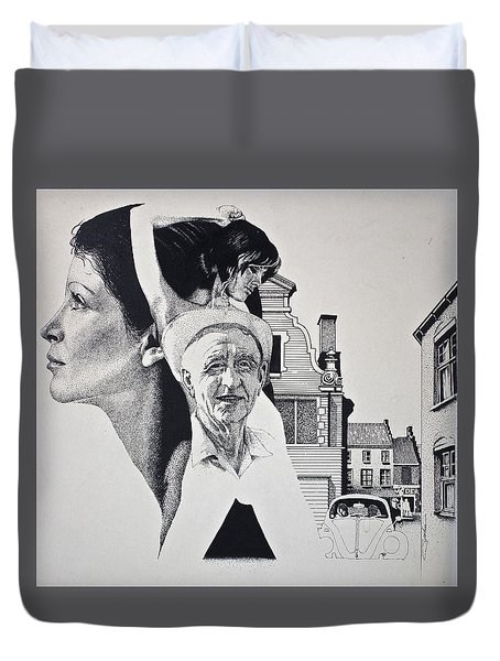 Duvet Cover featuring the painting Stipple 2 --over The Hill by Cliff Spohn