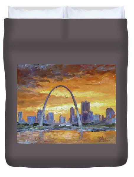 St.louis Arch - Sunset Duvet Cover