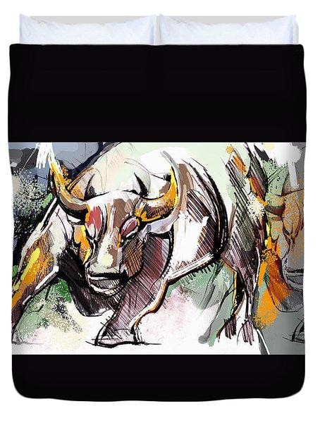 Stock Market Bull Duvet Cover