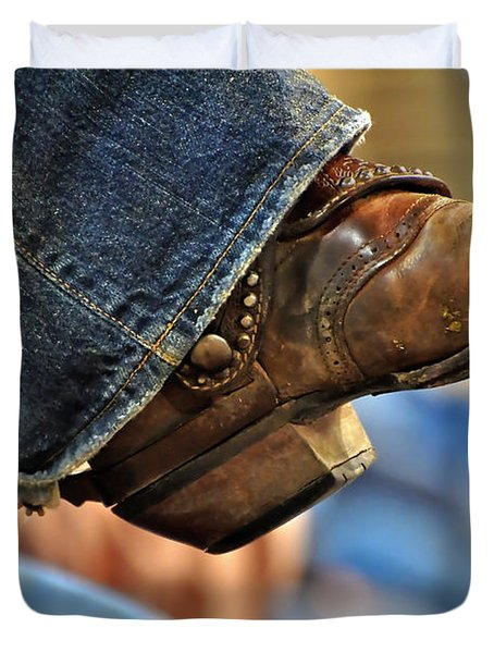 Stock Show Boots I Duvet Cover by Joan Carroll
