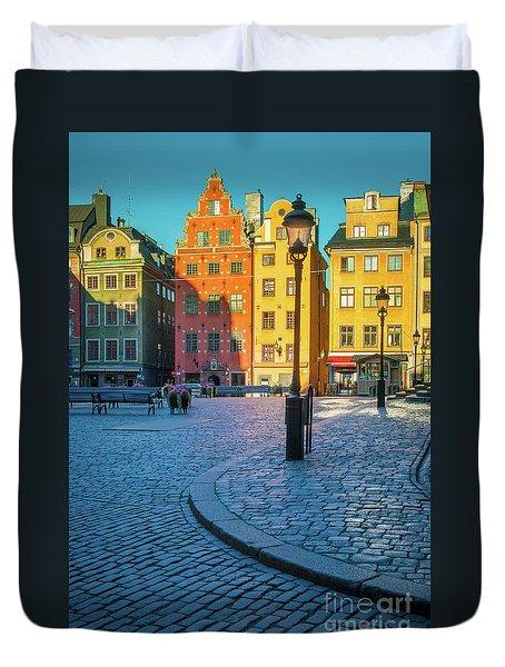 Stockholm Stortorget Square Duvet Cover by Inge Johnsson