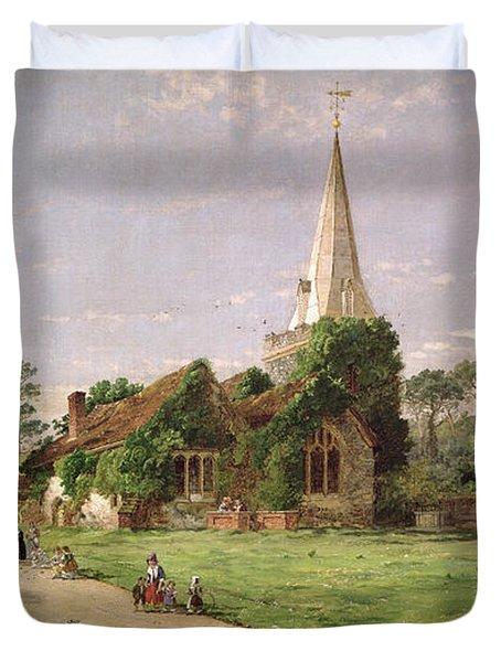 Stoke Poges Church Duvet Cover by Jasper Francis Cropsey