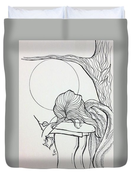 Stone Angel Duvet Cover by Loretta Nash