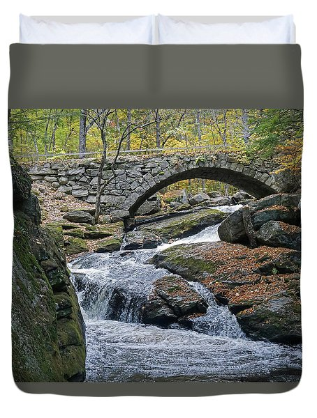 Duvet Cover featuring the photograph Stone Arch Bridge In Autumn by Wayne Marshall Chase