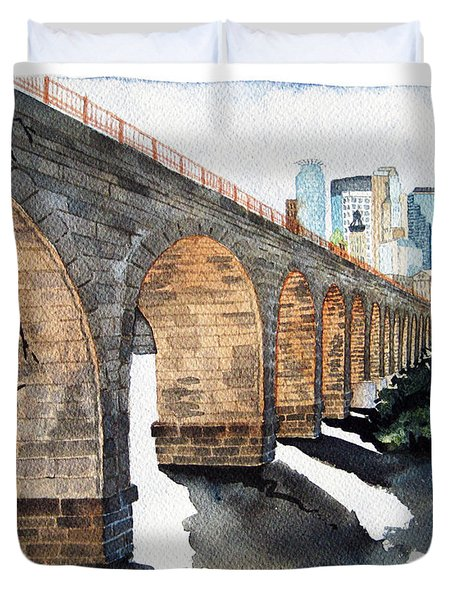 Stone Arch Bridge Watercolor Duvet Cover