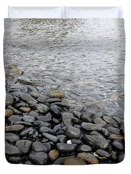 Duvet Cover featuring the photograph Menorca Pebble Beach  by Pedro Cardona