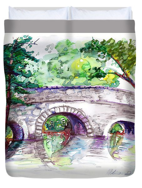 Stone Bridge In Early Autumn Duvet Cover by Melinda Dare Benfield