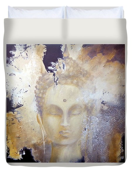 Duvet Cover featuring the painting Stone Buddha by Dina Dargo