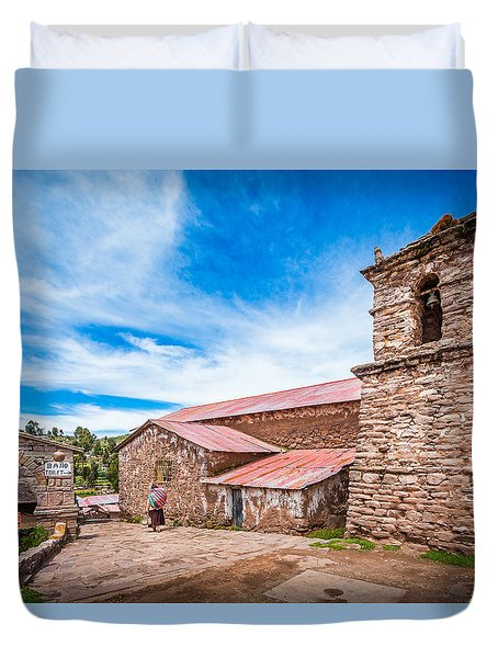 Duvet Cover featuring the photograph Stone Buildings by Gary Gillette