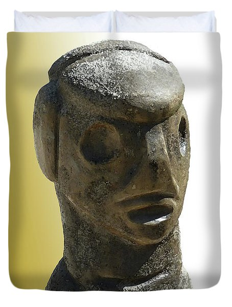 Duvet Cover featuring the photograph Stone Carve Protector  by Francesca Mackenney