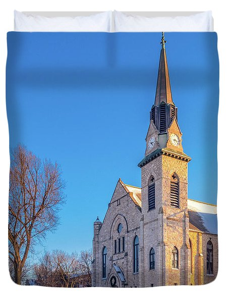 Stone Chapel In Winter Duvet Cover