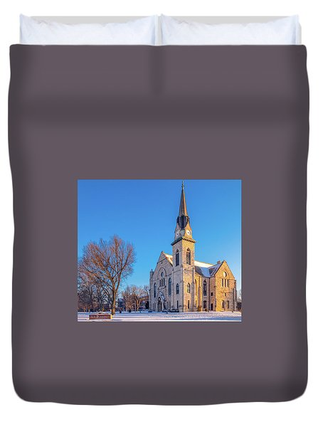 Stone Chapel In Winter Duvet Cover