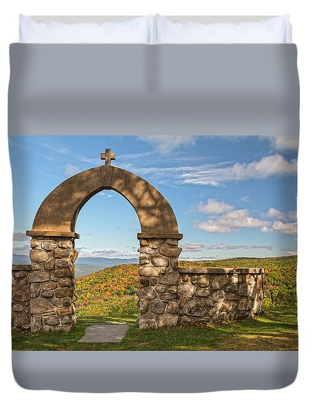 Stone Church In Autumn Duvet Cover