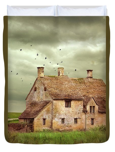 Stone Cottage And Stormy Sky Duvet Cover by Jill Battaglia