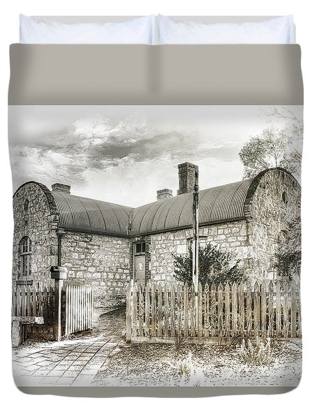 Duvet Cover featuring the photograph Stone Cottage by Wayne Sherriff